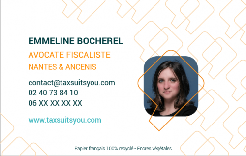 Carte de visite Tax Suits You verso